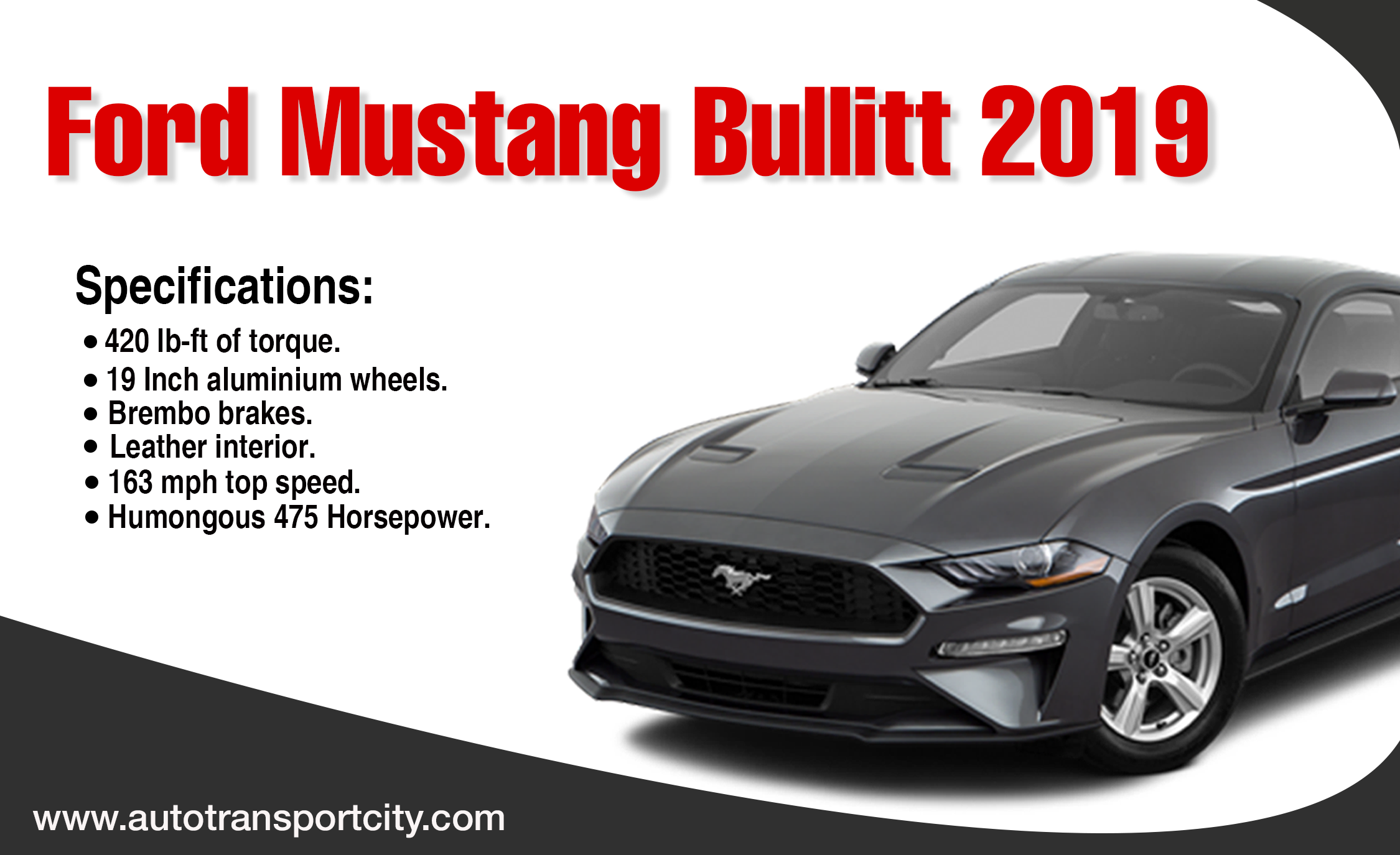 Ford mustang bullitt 2019 -autotransportcity